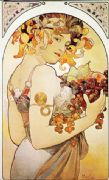 Vintage Art Deco Poster Woman with Fruit in her hair